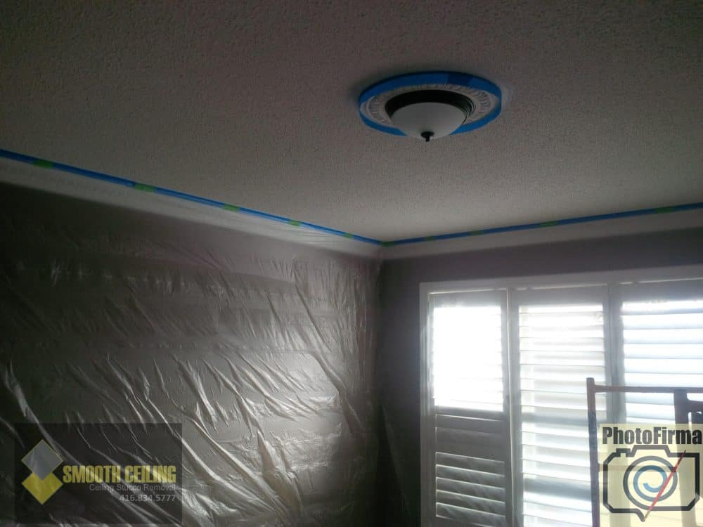 Popcorn ceiling about to be removed