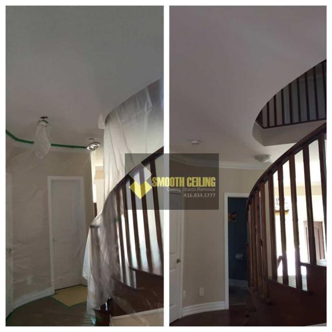 Oakville drywall and stucco work staircase