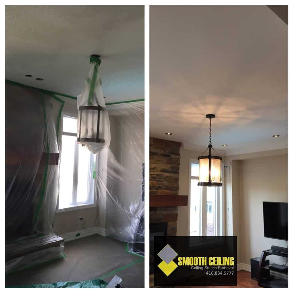 Before and After Popcorn Ceiling Removal