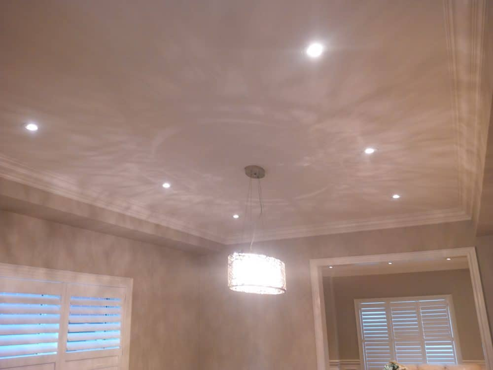 pot lights and crown moulding