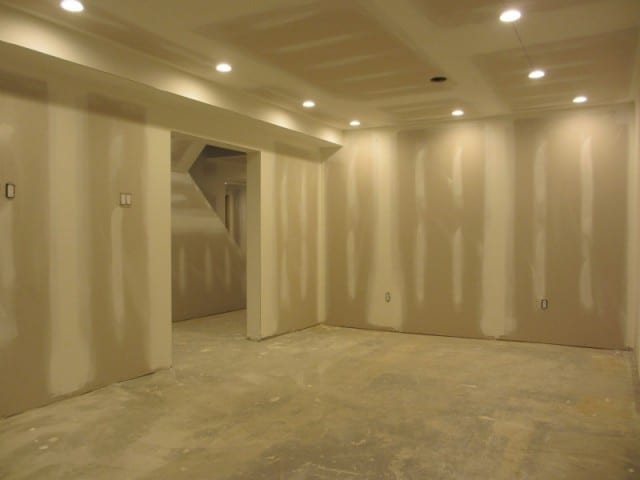 early stage drywall finishing