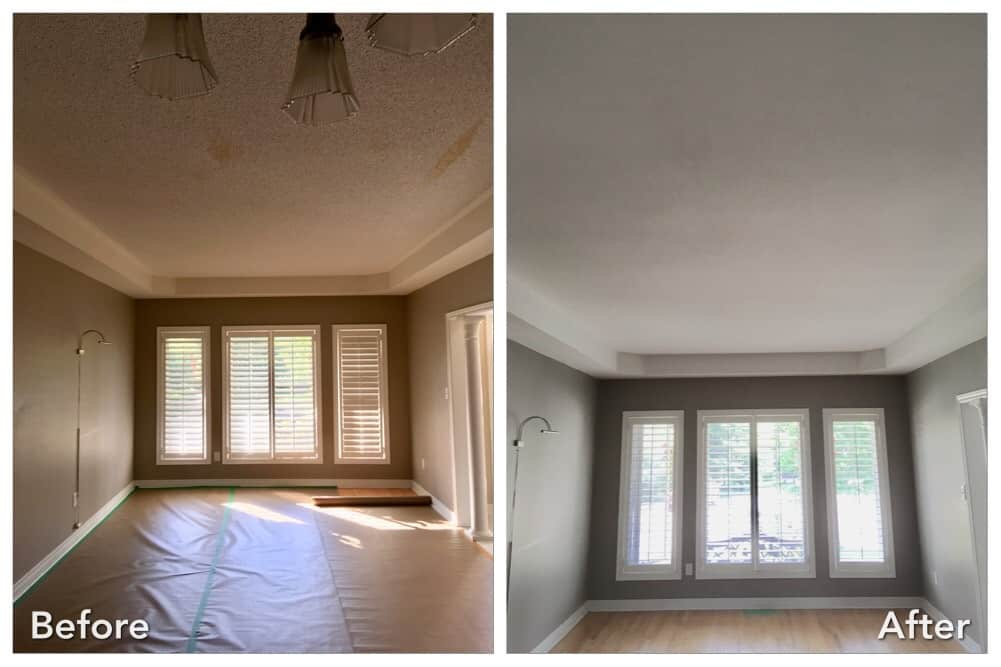 Living room with molding and stucco removed