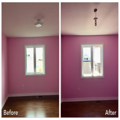 Pink bedroom with popcorn ceiling removed
