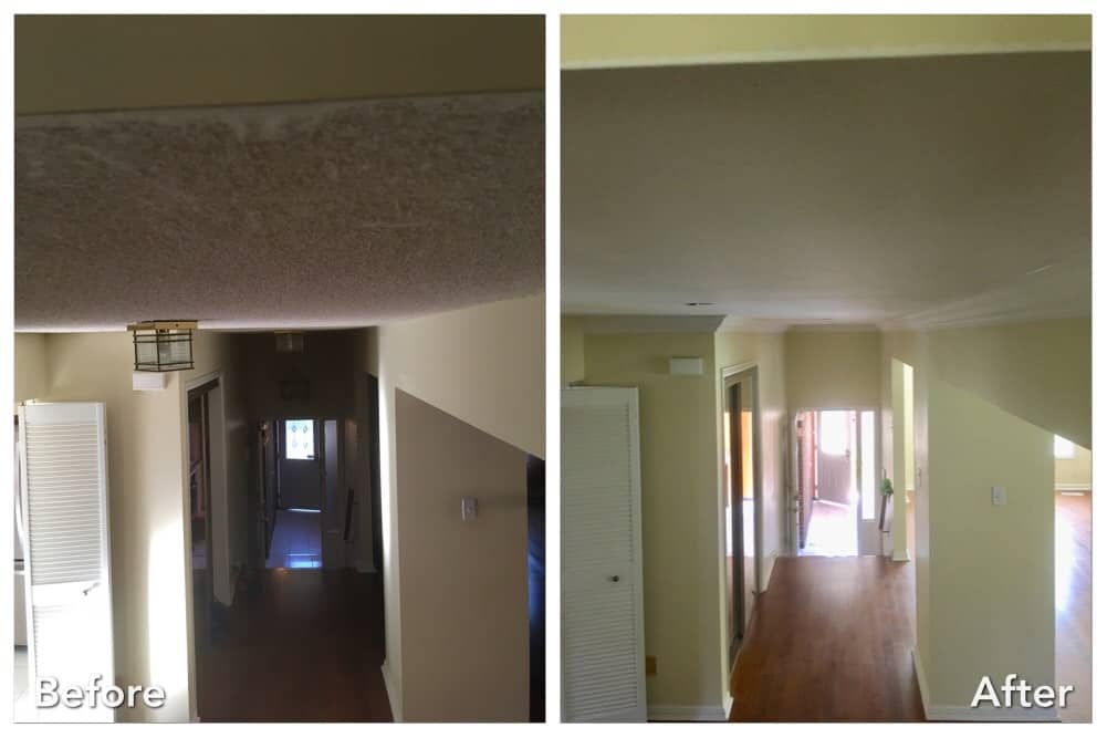 Before and after big stucco removed