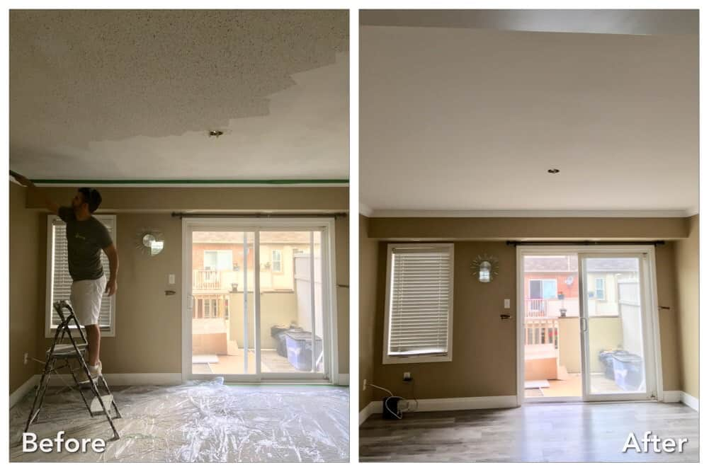 before and after stucco removed from ceiling